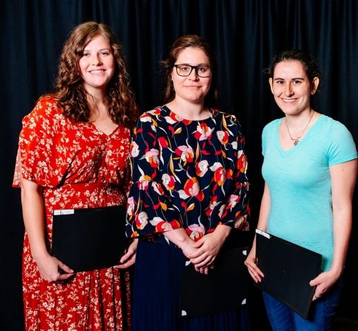 From left: Travel Fund Award recipients Ashley Stewart, Dr. Abbey Gregg and Emily Brown. Absent from photo were Dr. Mary Kelley and Calia A. Torres.