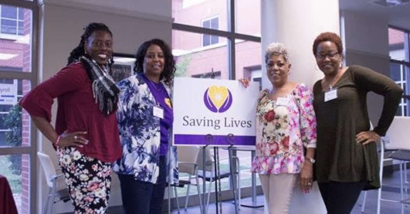 Mount Pilgrim Saving Lives Advocate Shelia Lee, second from left, poses with new church health advocates, from left LaShajla Lewis, Valerie Cleveland, and LaShonda George.