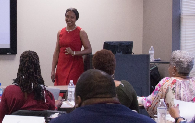 Registered dietician Angela Lewis of the Tuscaloosa VA Medical Center provides Academy participants with nutrition information.