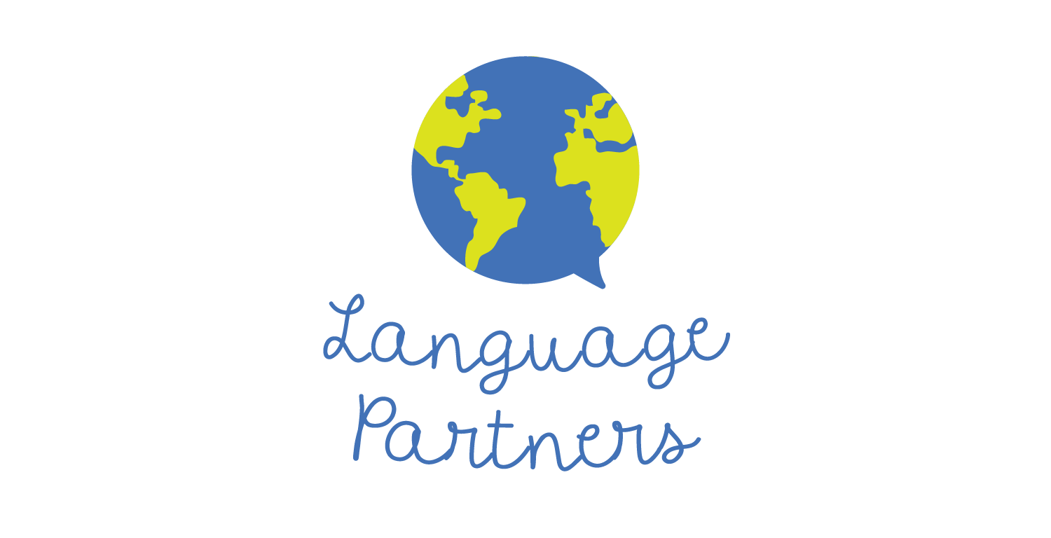 The Language Partners lgoo features a speech bubble which is also a globe.