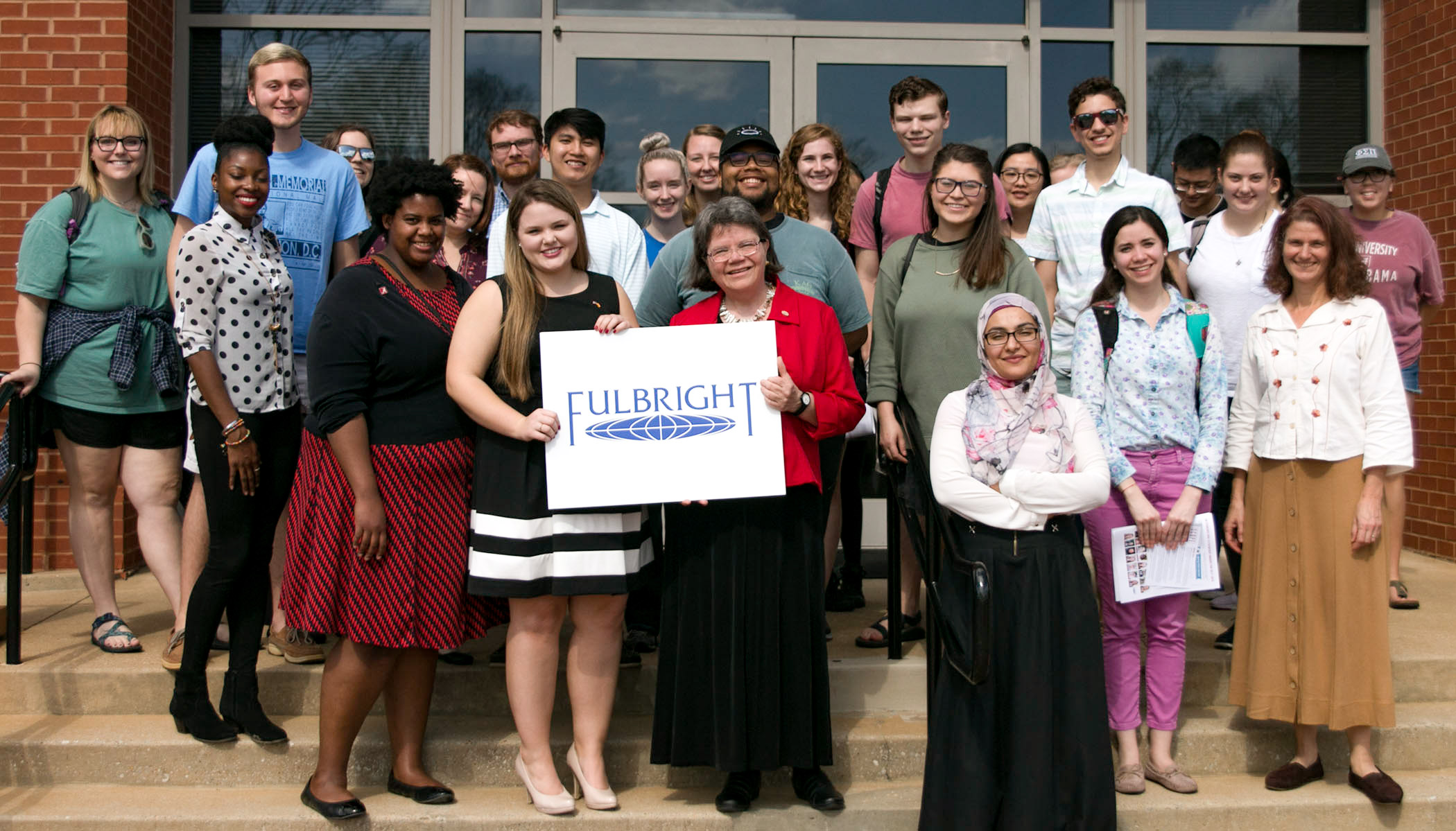 Fulbright winners, officials and students interested in the program pose for a group shot following the Februrary 22 meeting.