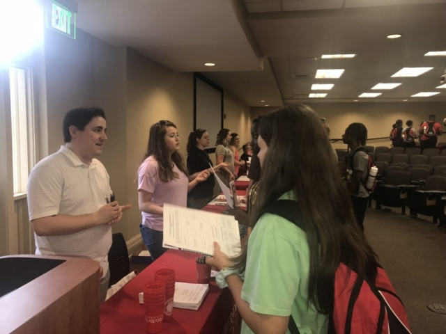Students participate in a simulated career fair that included representatives from several University colleges and departments.