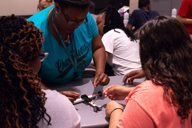 Students build their own EcoCAR with assistance from UA alumna Dr. Adriane Sheffield, who now teaches at Coastal Carolina University but returned to her alma mater to teach at this camp again this summer.