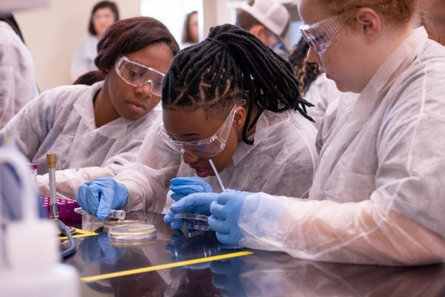 "Three high schoolers who dubbed themselves ""the oreo team"" work through an experiment using Andhra, a virus that was first identified by UA researchers in 2015 and that may help scientists learn about alternatives to conventional antibiotics."