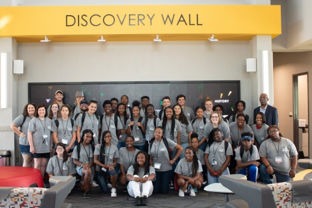 STEM Academy students pose for a group photo during their time at Tuscaloosa's Gateway to Discovery, a City of Tuscaloosa innovation center.