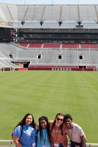 A week-long camp at UA would not be complete without a behind-the-scenes tour of Bryant-Denny Stadium and a photo op overlooking the field.