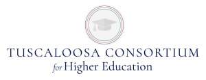 The Tuscaloosa Consortium for Higher Education logo represents The University of Alabama, Shelton State Community College, and Stillman College.