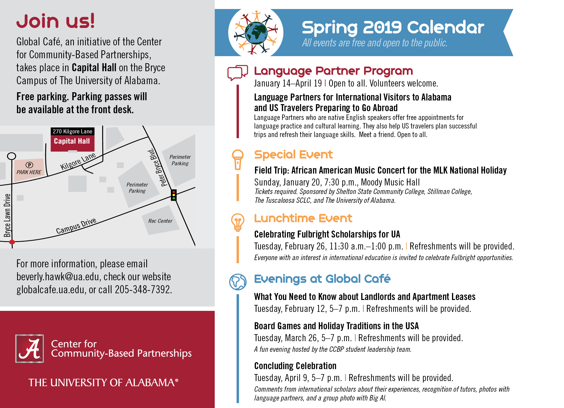 Global Café events calendar for the spring 2019 semester.