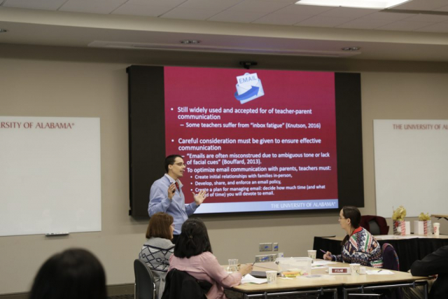 "Dr. James Hardin, clinical assistant professor in UA's College of Education, speaks on effective communication during the presentation ""From Parent to PARTNER: Digital Tools for Building Bridges."""