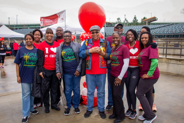 Participants from Saving Lives member church Mt. Pilgrim Baptist pose for a photo at the 2019 Heart Walk.