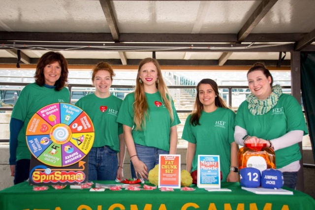 Eta Sigma Gamma, a UA student organization, is pictured above. These students partnered with Saving Lives to educate the public on the importance of staying healthy and active at the 2019 Heart Walk.