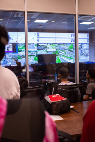 STEM camp students visited the Tuscaloosa Regional Traffic Management Center (shown here).