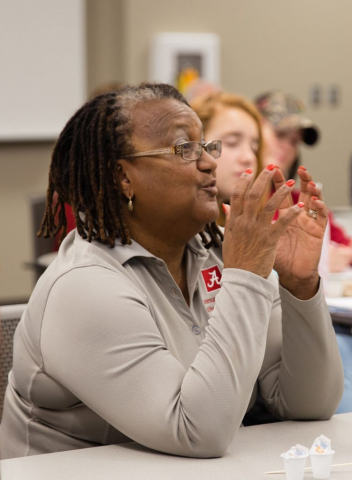 Dr. Pamela Payne-Foster, professor of community medicine and population health in the College of Community Health Sciences, discusses a research issue.